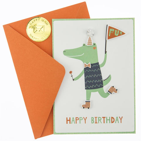 whimsical crocodile birthday card