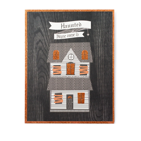 haunted house glitter plaque