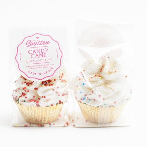 mini candy cane cupcake bath bombs