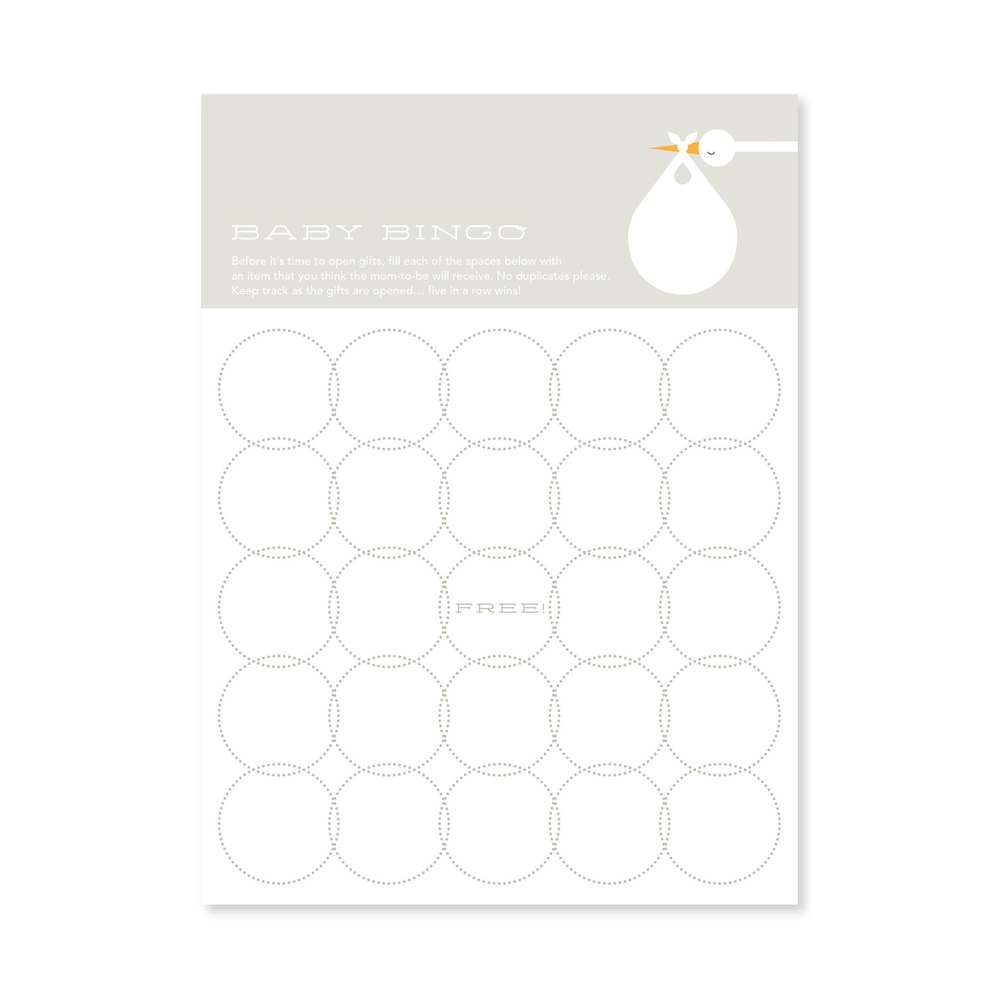 Soft Grey Stork Bingo Cards for Baby Shower