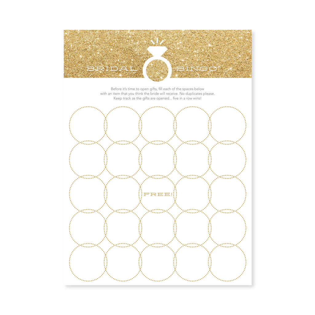faux gold glitter bingo cards for bridal shower