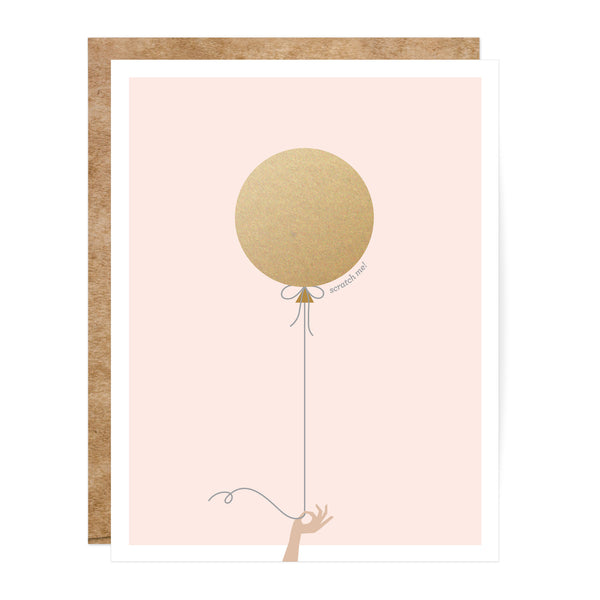 Pink and Gold Scratch-Off Balloon Greeting Card