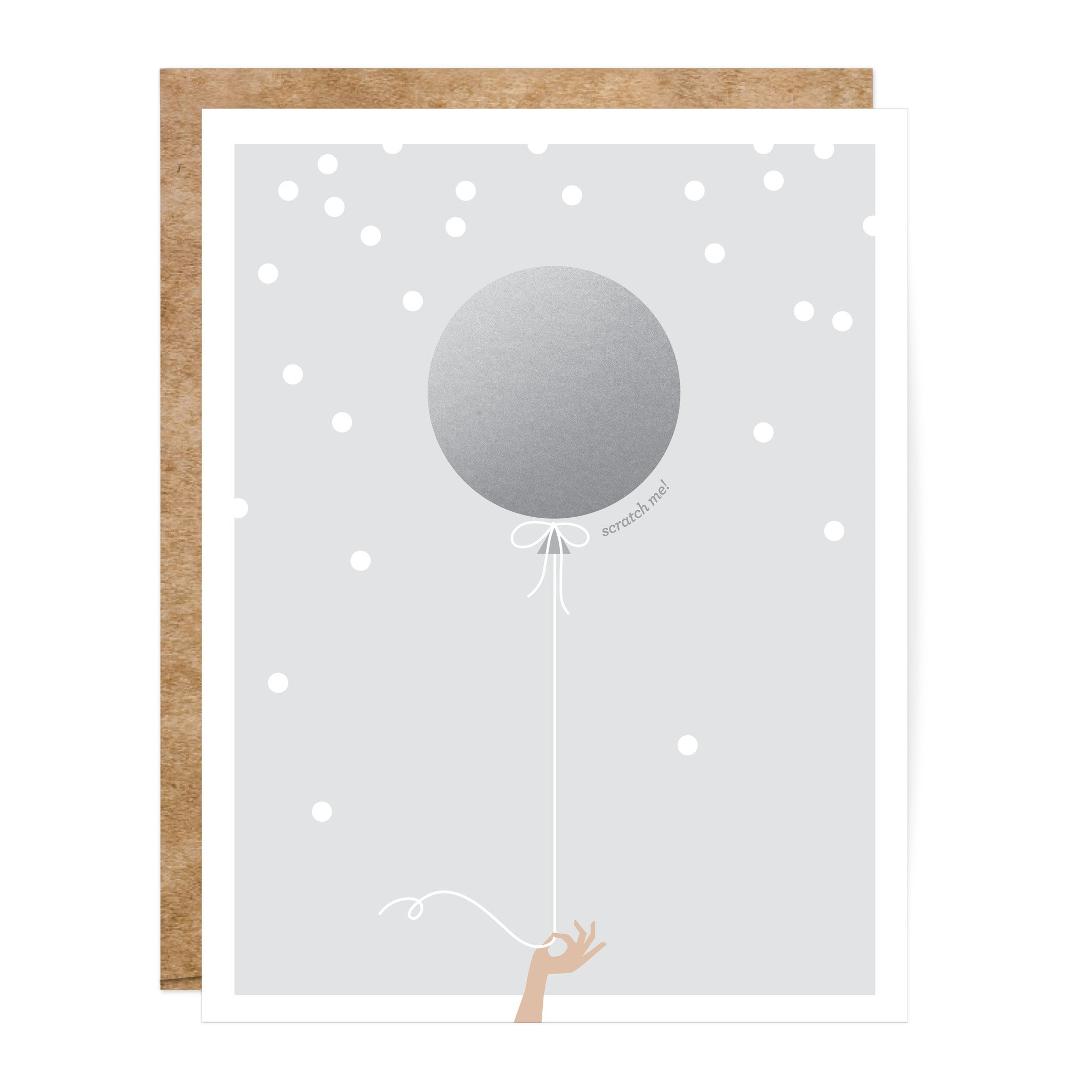 Soft Grey and Silver Scratch-Off Balloon Greeting Card