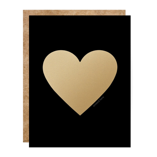 Black and Gold Scratch-Off Heart Greeting Card