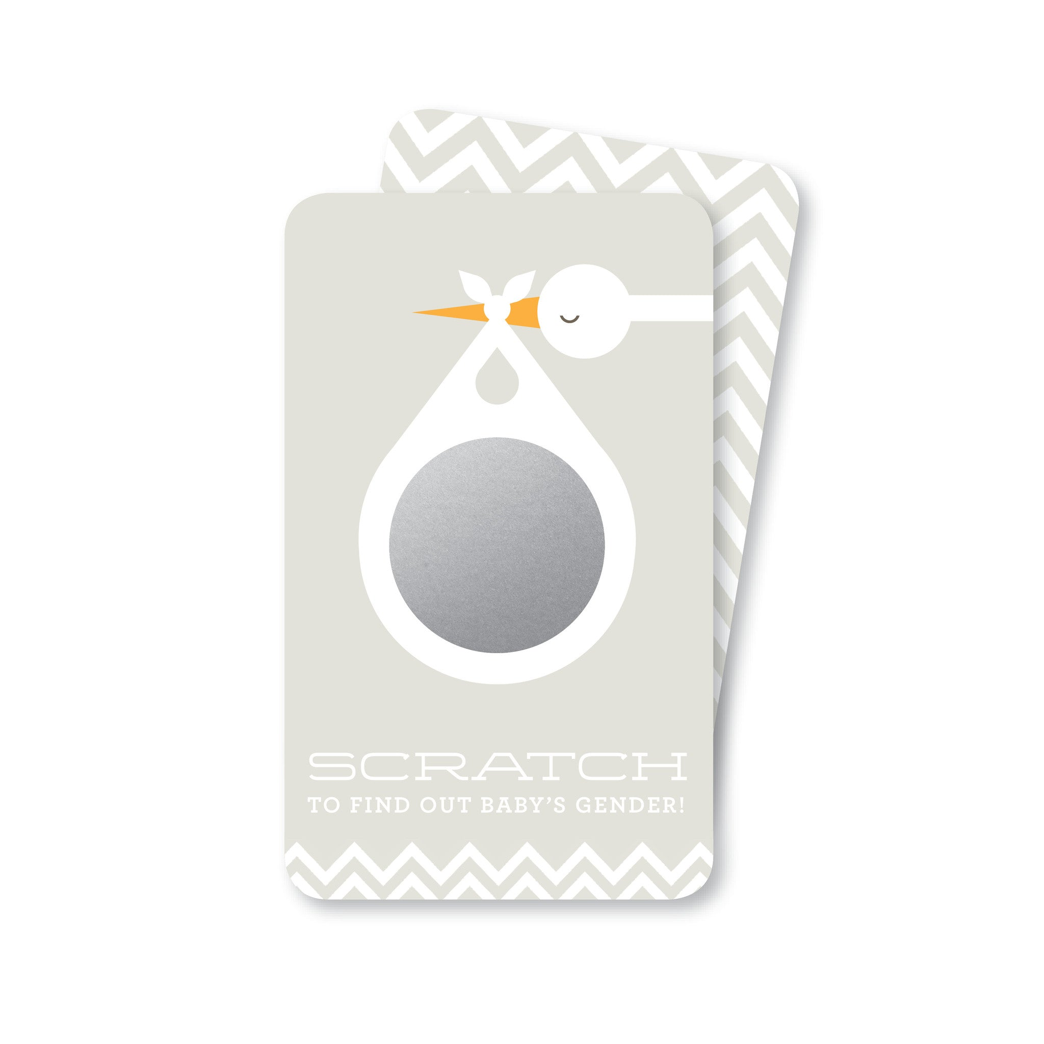 Soft Grey Stork Baby Gender Reveal Scratch-Off Cards | Boy