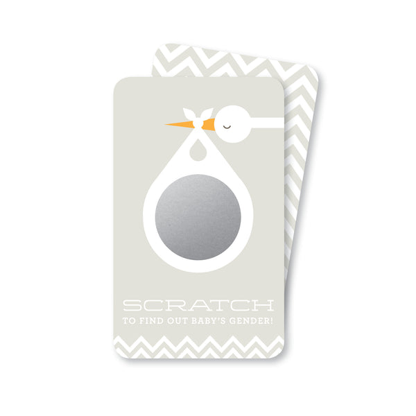 Soft Grey Stork Baby Gender Reveal Scratch-Off Cards | Girl