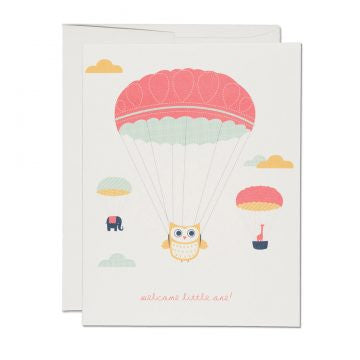 Owl in Parachute Welcome Little One Greeting Card