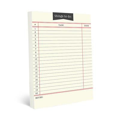 Library Card Large Notepad | To Do List Pad