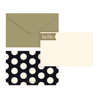 Hello Black and Gold Flat Notes