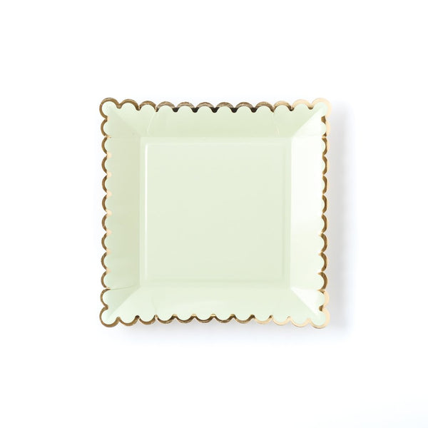 mint and gold party plates