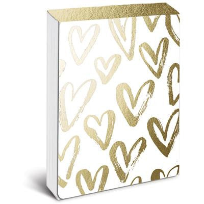 Brushed Gold Hearts Pocket Notes