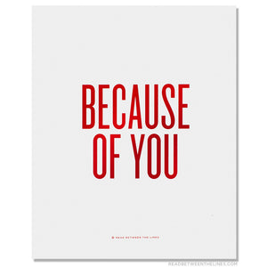 Because of You Red Print 8x10