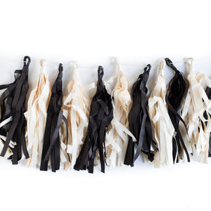 black and cream tassel banner