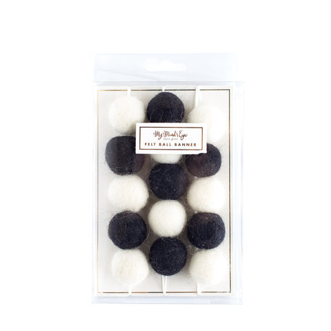 Black and White Felt Ball Garland | Banner