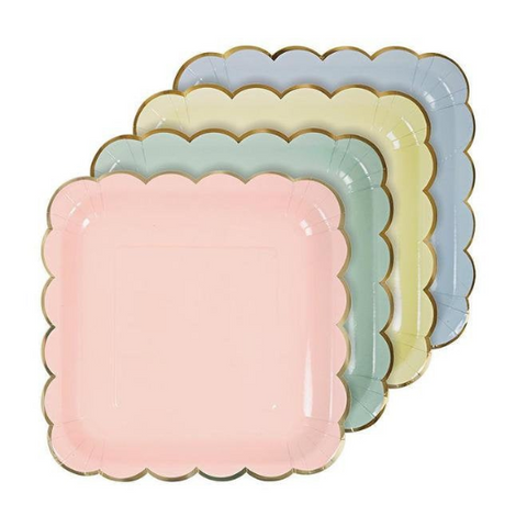 large assorted pastel party plates
