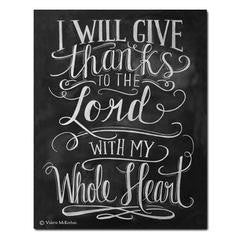 I Will Give Thanks to the Lord Chalkboard Print