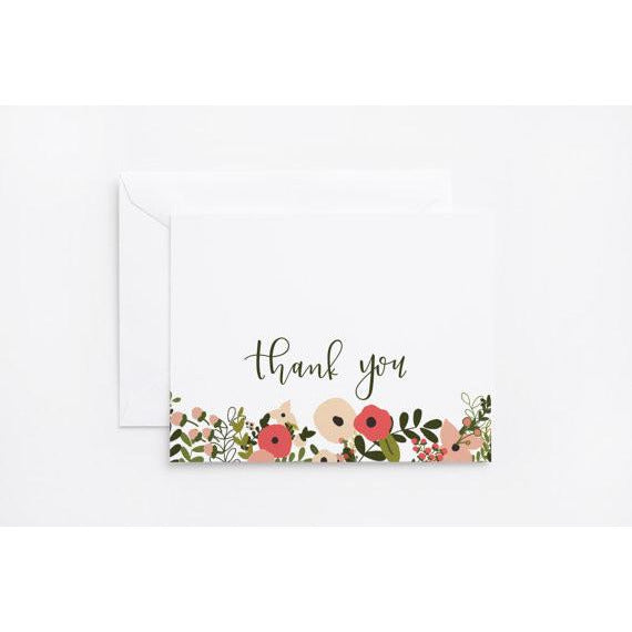 Blooming Wreath Thank You Card Set