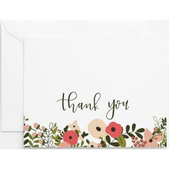 coral and blush floral thank you note cards