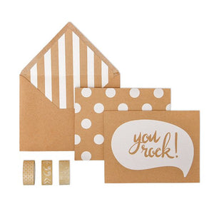 you rock boxed card and washi tape set