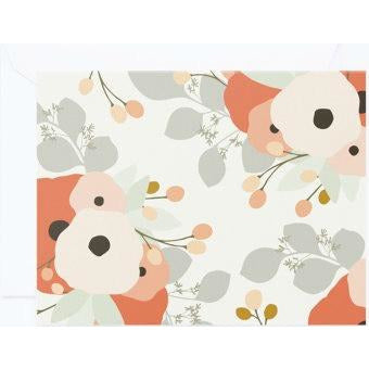 gray and coral floral print note cards
