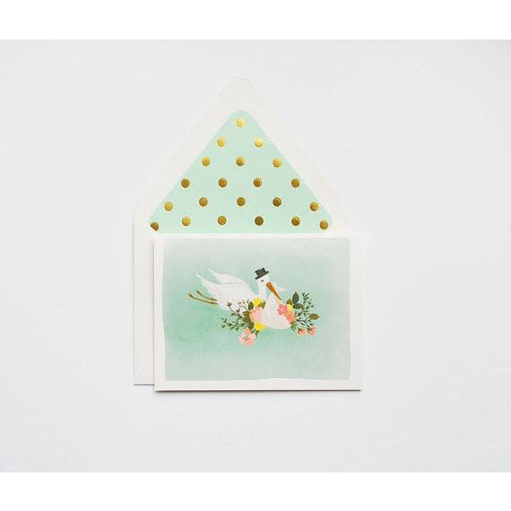 Mint Green Stork Greeting Card