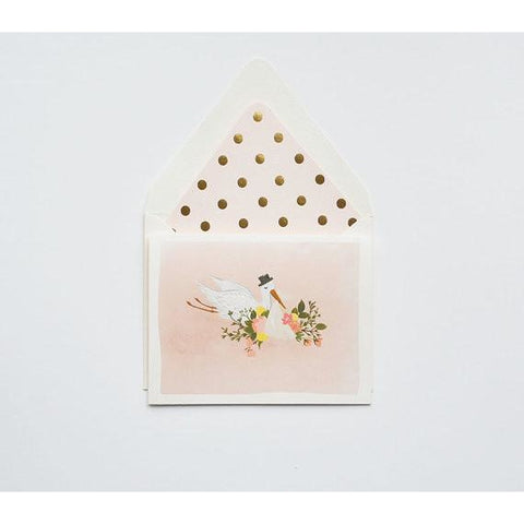 Blush Pink Stork Greeting Card