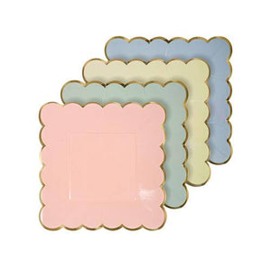 assorted small pastel plates
