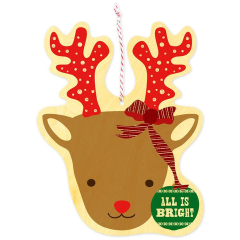 Reindeer Ornament Wood Greeting Card