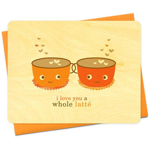 Latte Love Wood Greeting Card