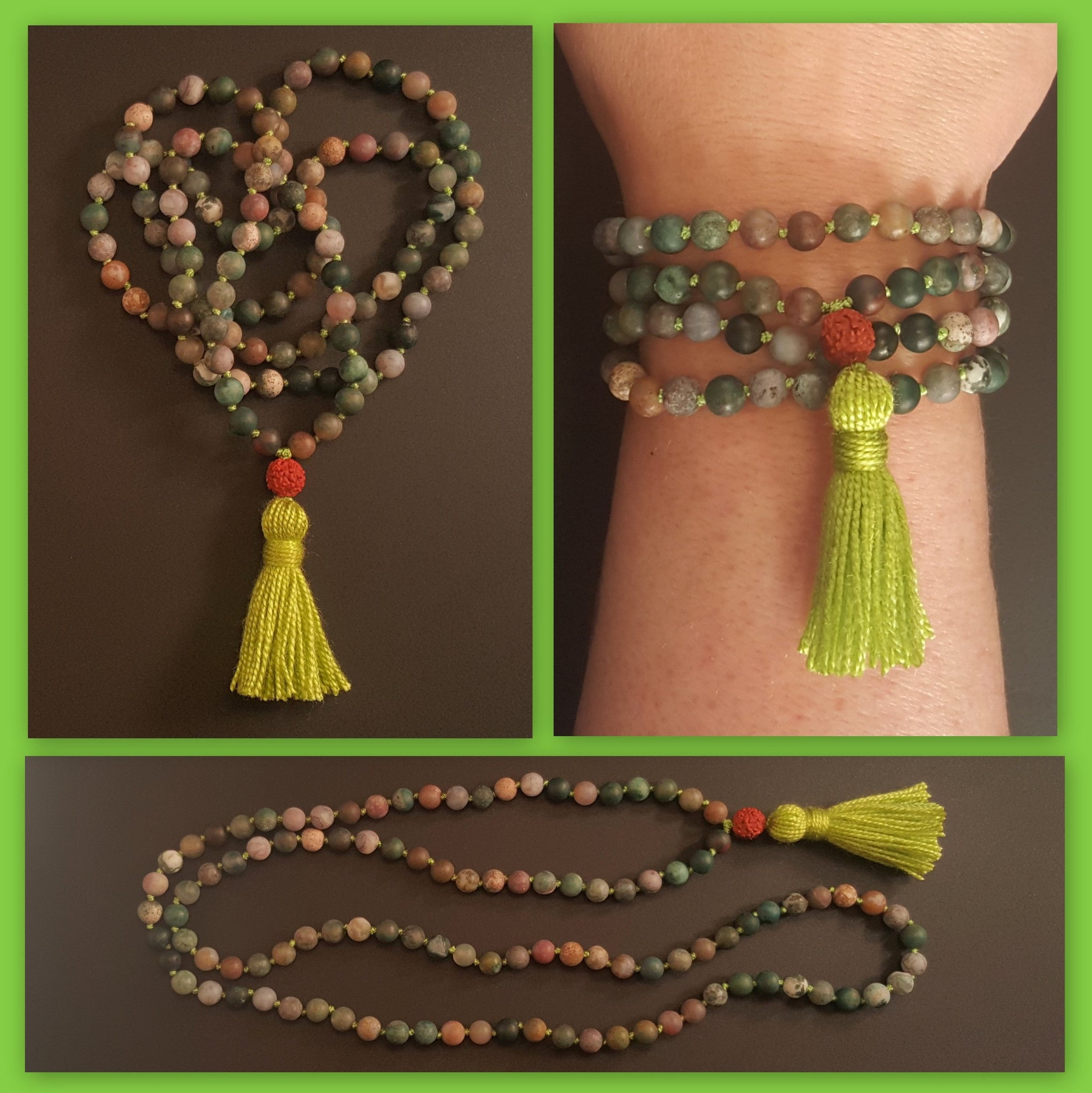 Nurturing and Empowerment Mala -  Indian Agate Bloodstone - Petite (smaller beads)