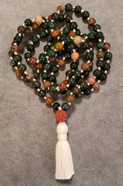 Nurturing and Empowerment Mala -  Indian Agate Bloodstone -  Petite