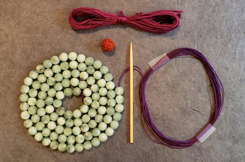 Emotional Harmony Mala KIT - Green Moonstone