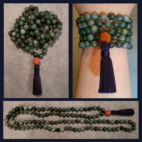Mother Earth Mala - Moss Agate