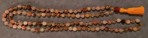 Energizing Mala - Rutilated Quartz