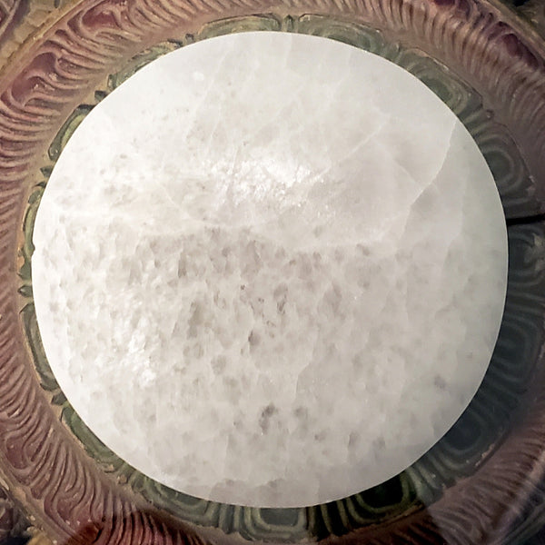 Selenite Charging and Clearing Plate with 3 Stones