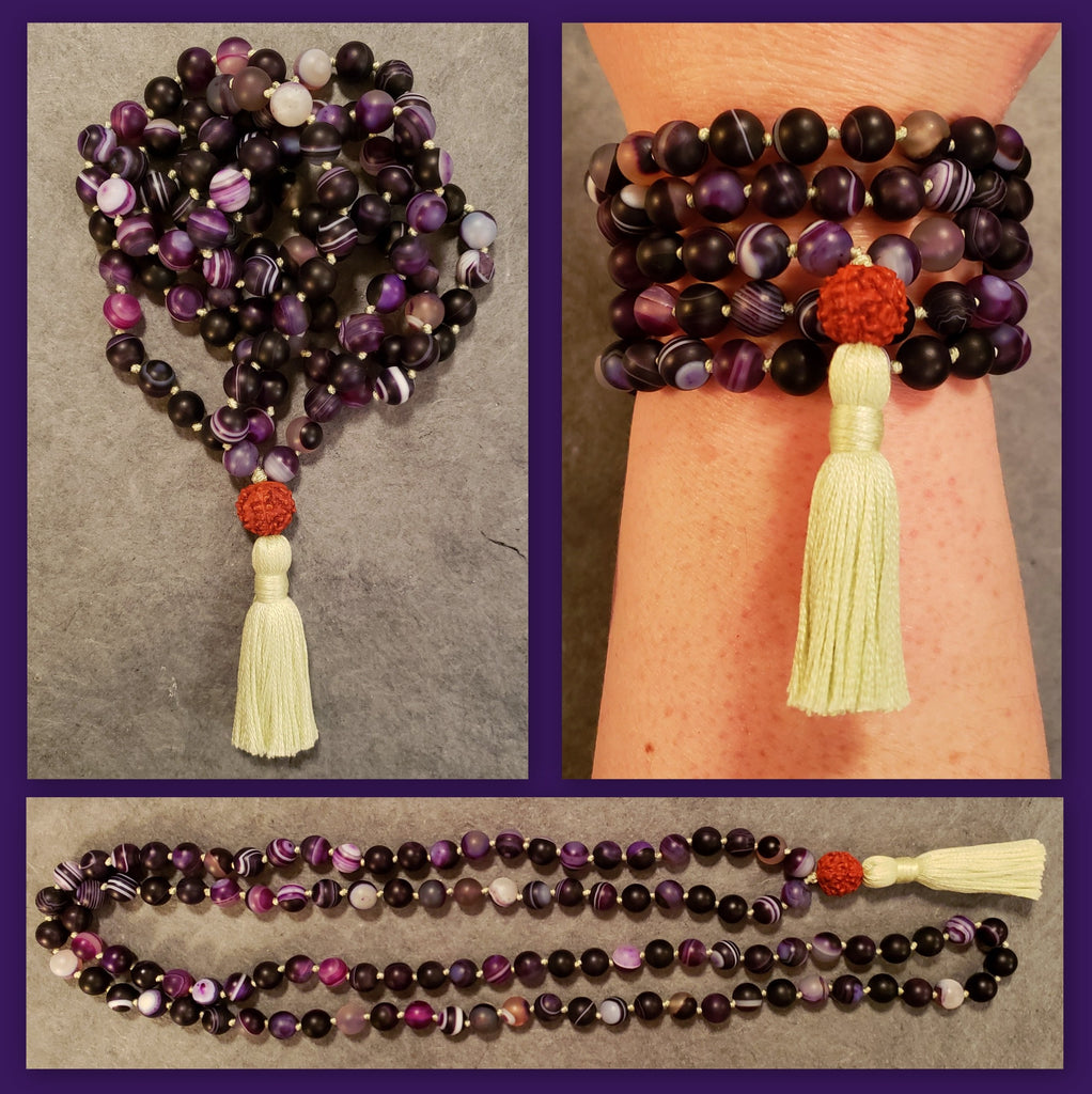Harmonizing Mala - Striped Agate