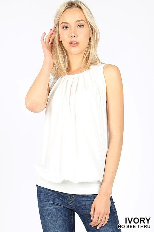 Round Neck Pleated Tank Top