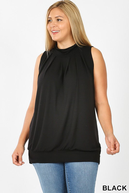 Plus Sleeveless High Neck Pleated Top with Waistband