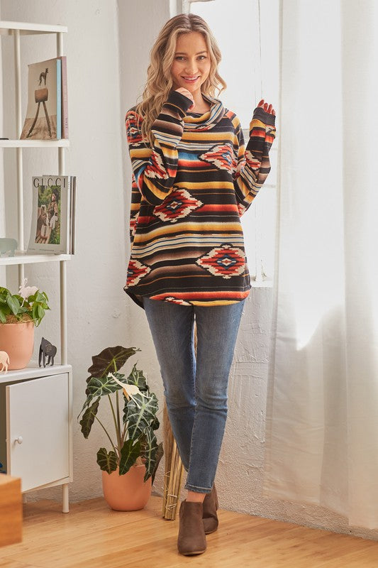 RED COWL NECK AZTEC TUNIC TOP