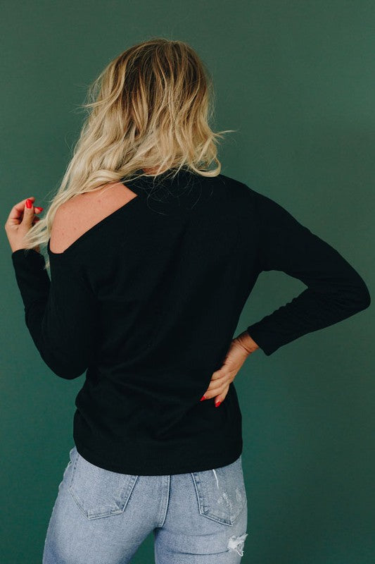 Black Cold Shoulder Ribbed Texture Long Sleeve Top