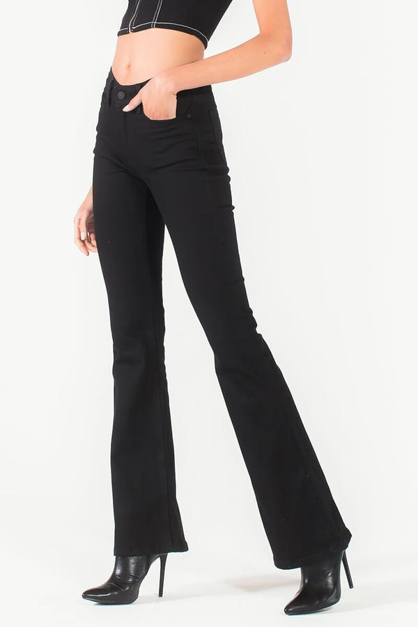 Llein Mid Rise Classic Black Flare