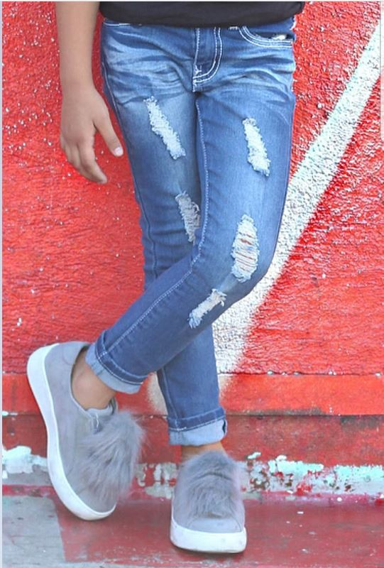 Girl's Yummy Wash Jeans Distressed