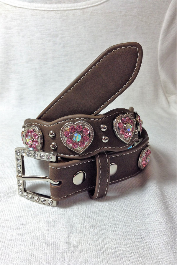 Youth Brown Pink Diamond Heart Belt