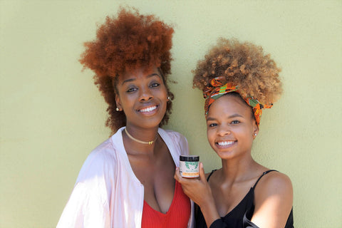 Kyra's Shea Medleys is empowering women to embrace their natural curls and love their skin. Pictured is @curlhawkqueen and Danielle Jelks holding our Original Butter Cream.