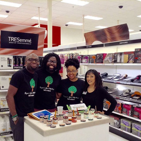 Kyra John and Michael at Target's Beauty counter demoing our products