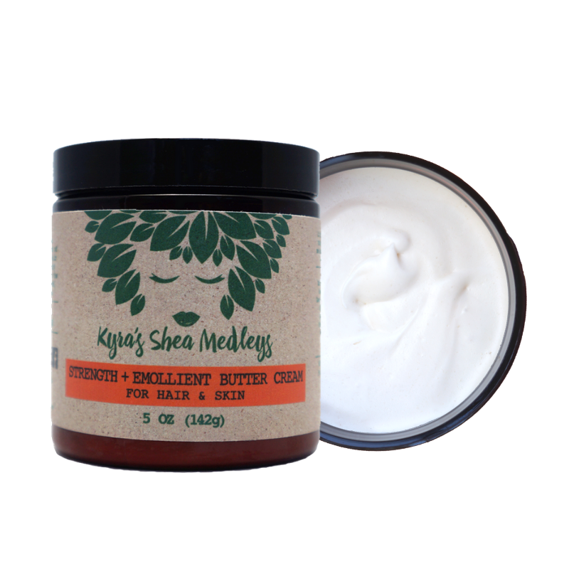 Strength + Emollient Shea Butter Cream with Mango, Carrot and Almonds for Natural Hair, Skin and Nails