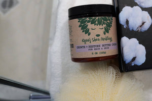 Growth + Restore Shea Butter Cream with Lavender and Rosehip for Natural Hair, Skin and Nails