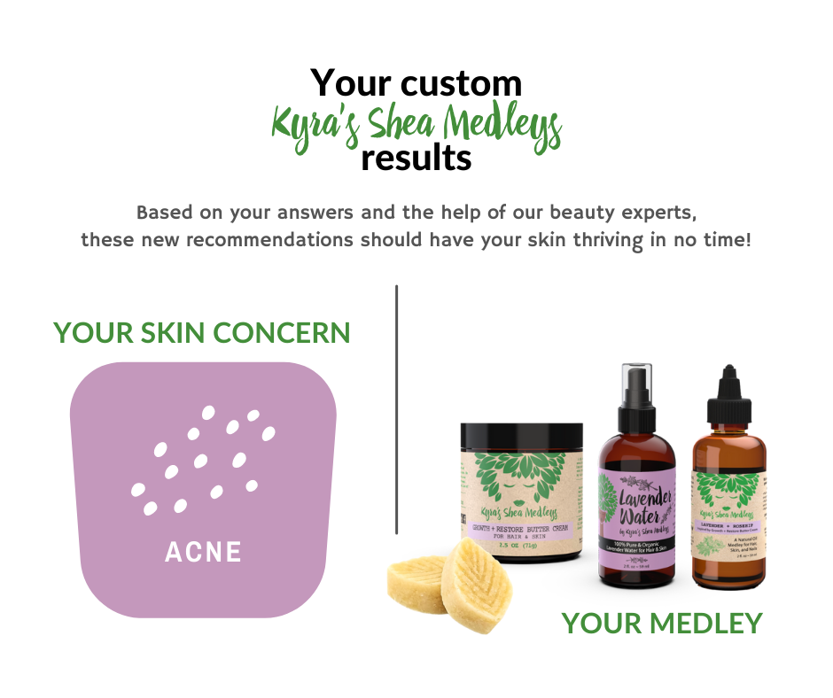 Based on your answers and the help of our beauty experts, our Lavender + Rosehip Medleys should have your skin thriving in no time!