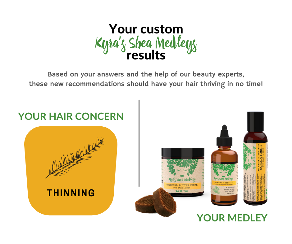 Based on your answers and the help of our beauty experts, our Avocado + Vanilla Medleys should have your hair thriving in no time!