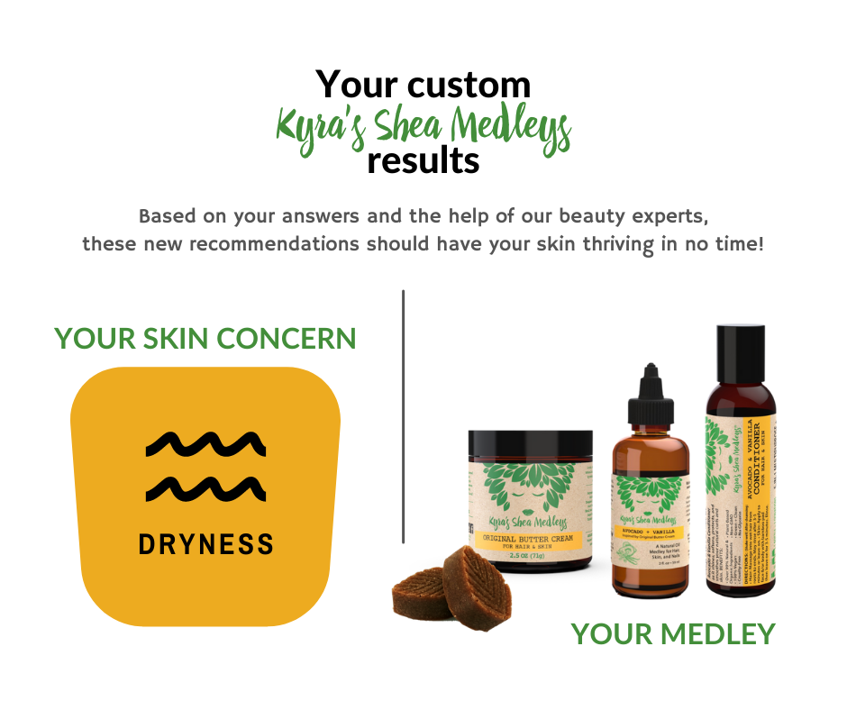 Based on your answers and the help of our beauty experts, our Avocado + Vanilla Medleys should have your skin thriving in no time!